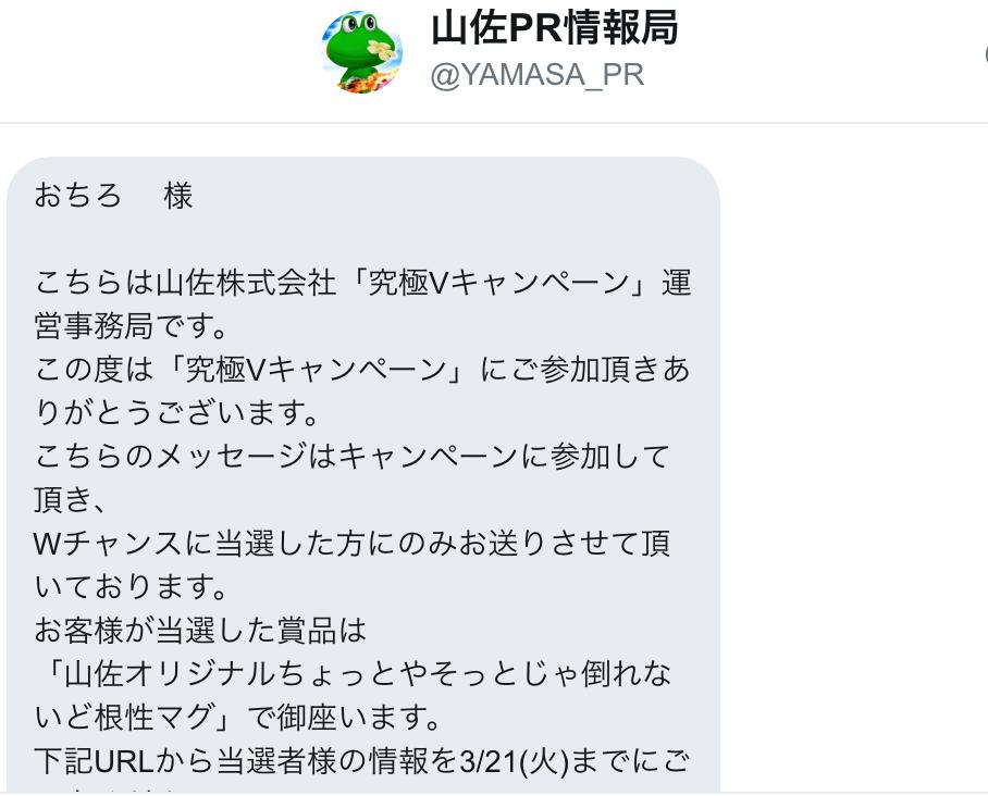 ヤマサ当選DM